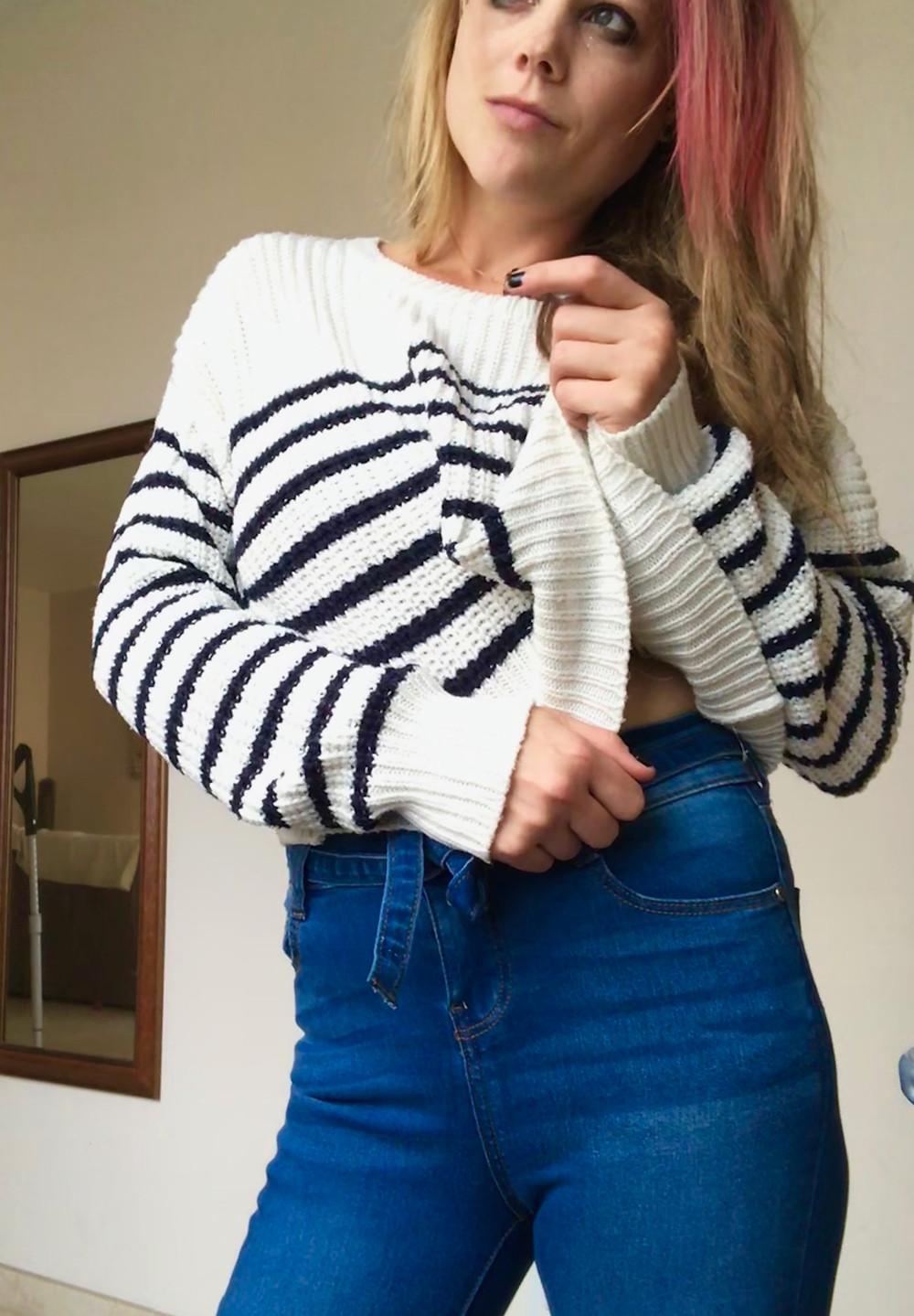 Blue High Waist Paper Bag Skinny Jeans: