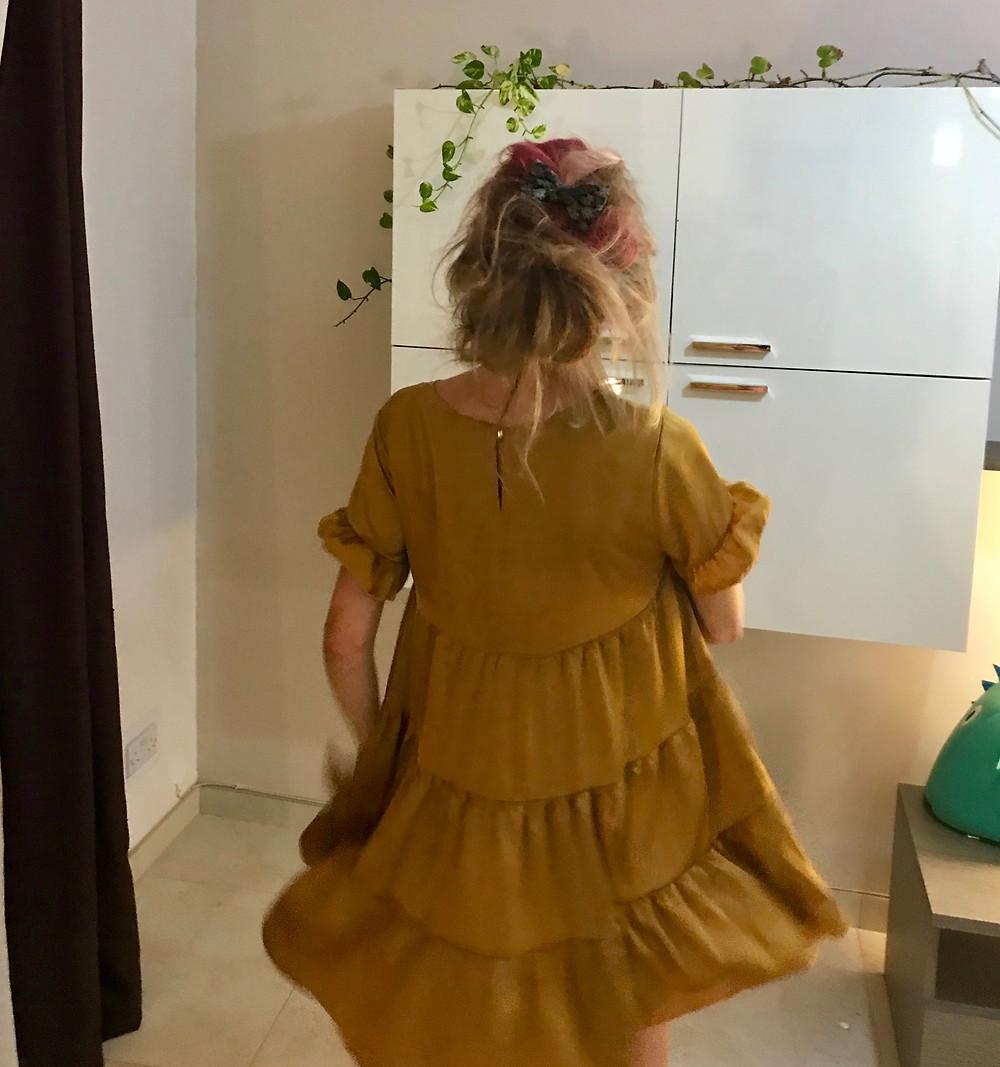 Mustard Satin Baby doll Smock Dress: