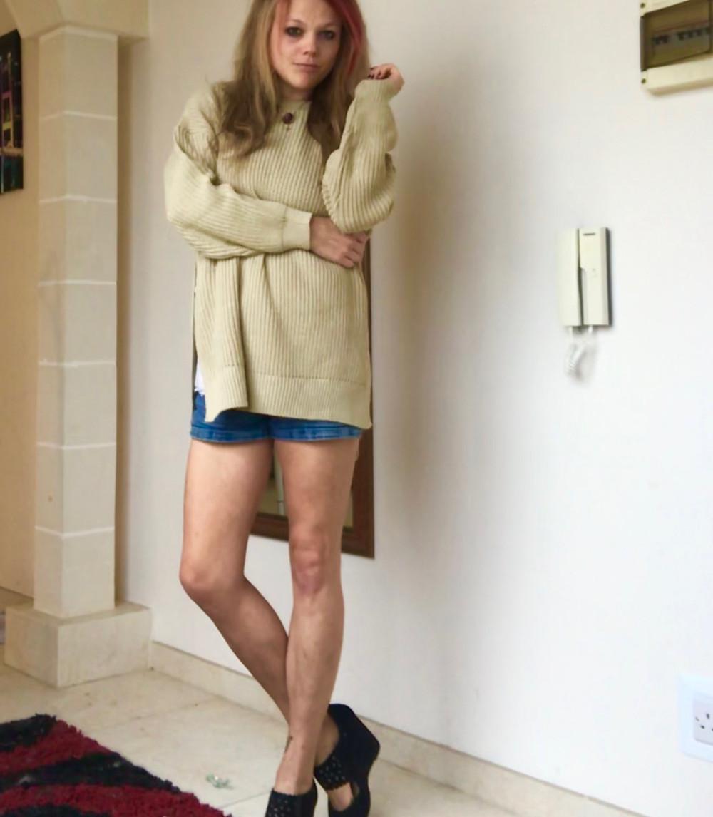 Stone Oversized Split Side Knitted Jumper: