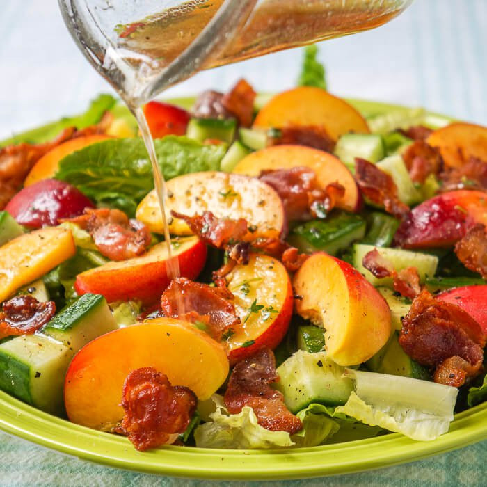 peach and bacon salad