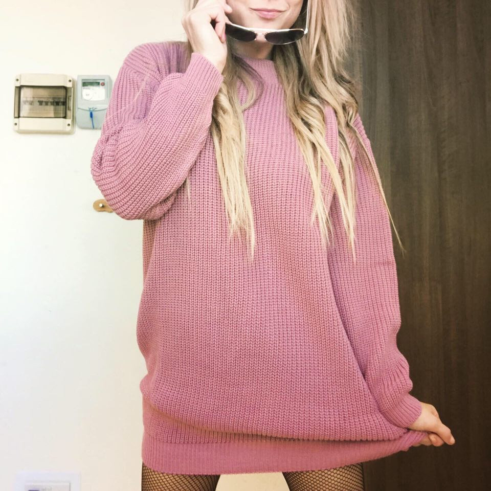 Pink Knitted Oversized Long Sleeve Jumper Dress