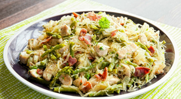 Asparagus and Chicken Carbonara