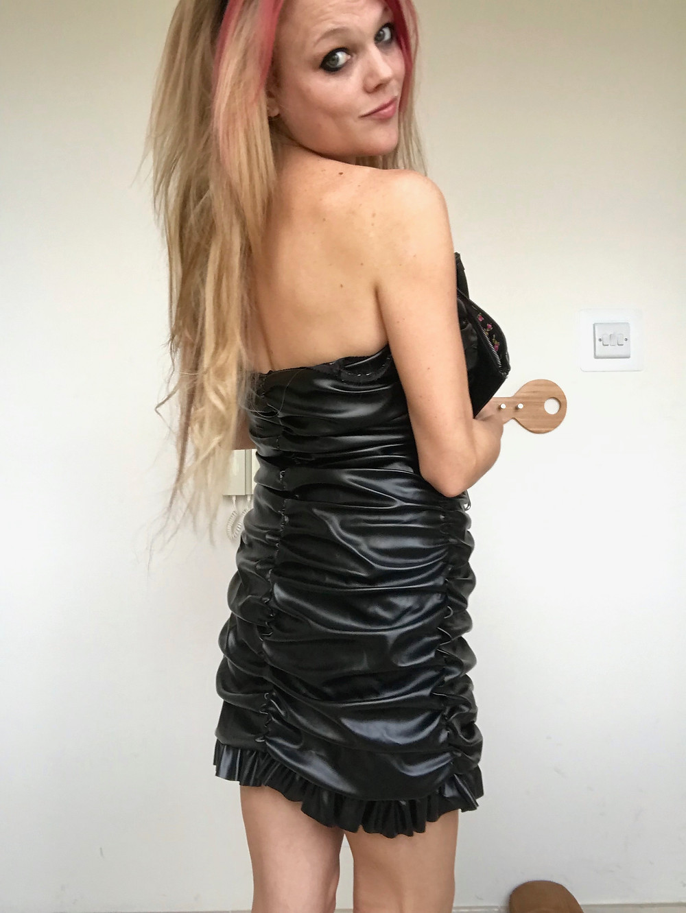 Black PU Ruffle Strapless Bodycon Mini Dress