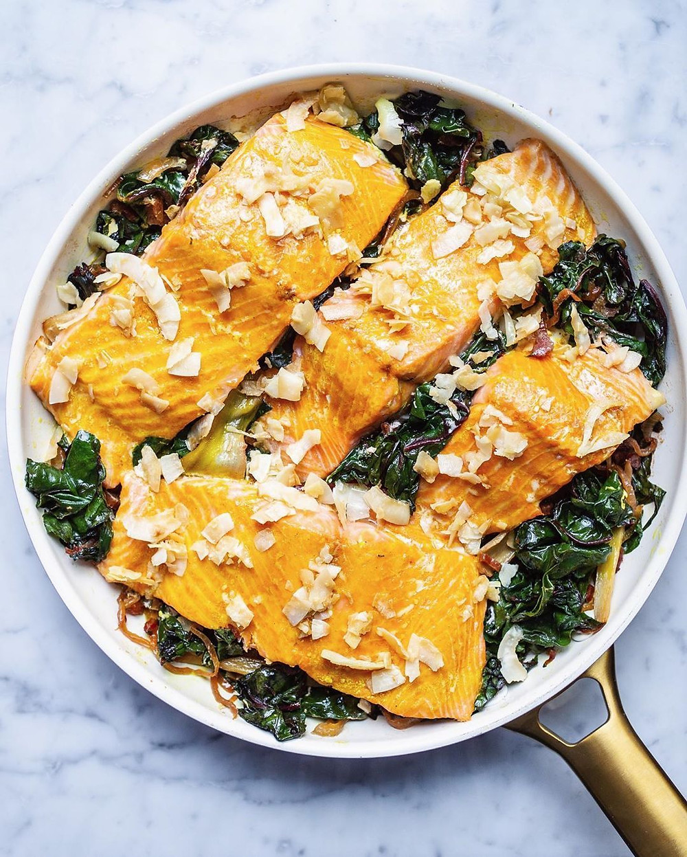 Turmeric Salmon With Coconut Crisp
