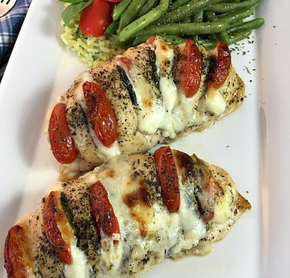 Chicken Stuffed with Mozzarella, Tomato and Basil plated from Walking on Sunshine Recipes_edited