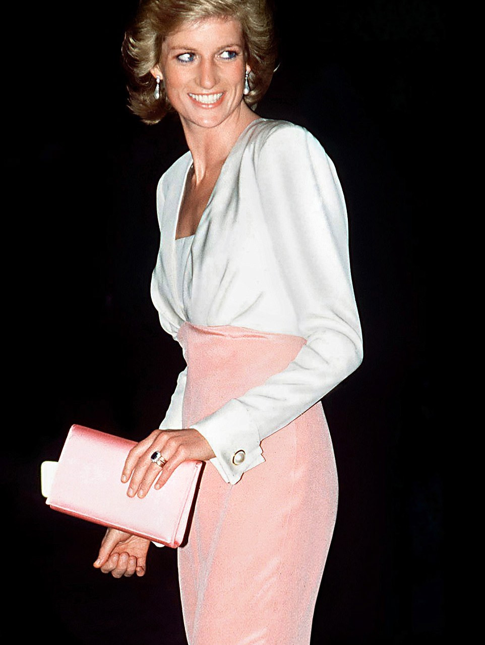 Tickled pink: A beaming Diana wears a Catherine Walker silk crepe dress for the ballet at the London Coliseum, 1989 Taffeta fairytale: She shimmers in an emerald green gown by Graham Wren at a Swansea gala in 1981