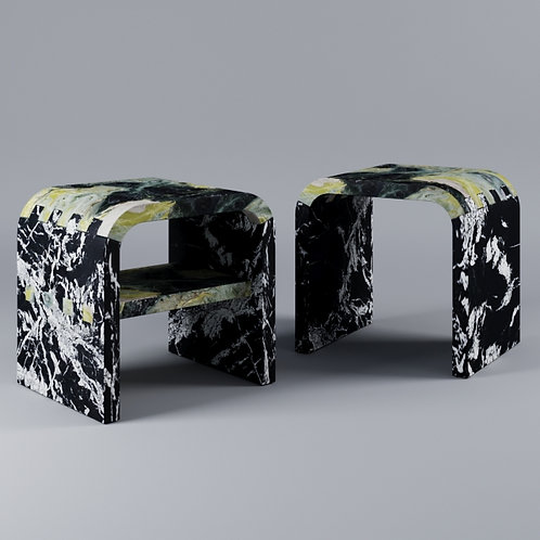 Stool Chair_Abbey Green Marble Nero Fantastico Marble