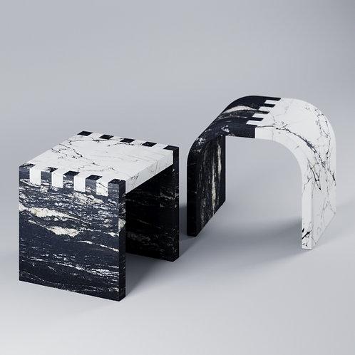Stool Chair_paonazzo porcelain cosmic black