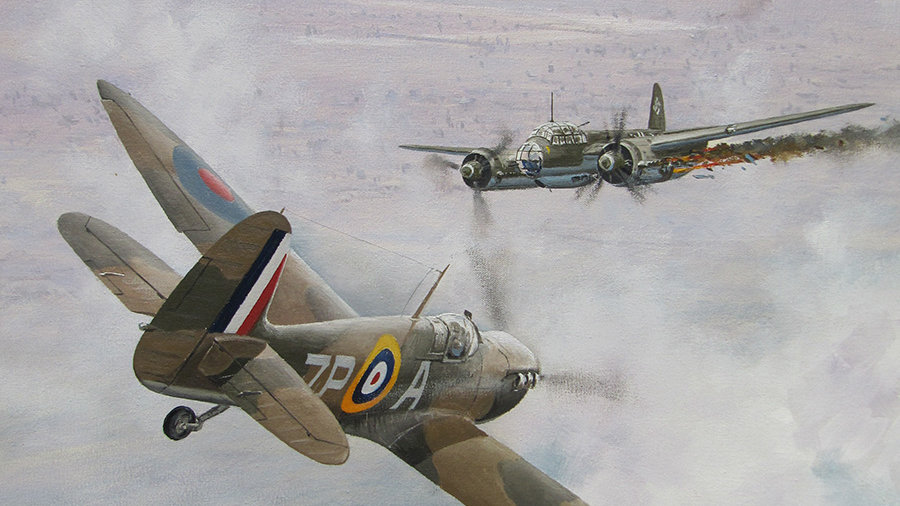 Spitfire over south London Canvas Print by Ron Belling
