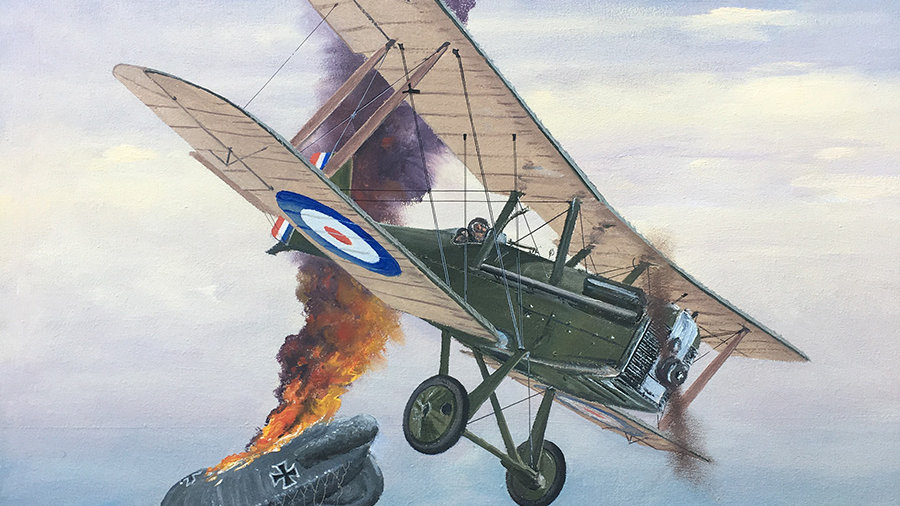 Royal Aircraft Factory S.E.5 shoots down a German Observation Balloon/Blimp