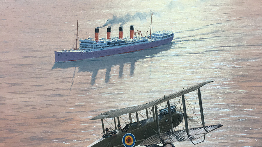 A Union Castle liner is buzzed by a former Royal Flying Corps aircraft
