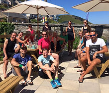 Hayle Runners relax after a Sunday run