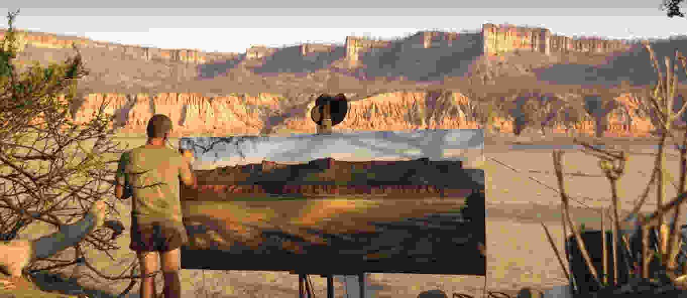long sands of gonarezhou field oil painting larry norton