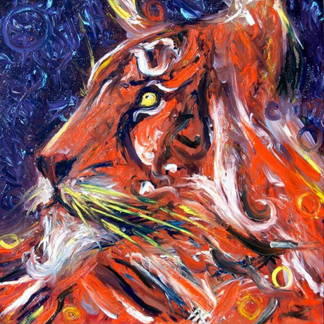 'Whiskers' Fingerpaint in Oils by Chiara Magni