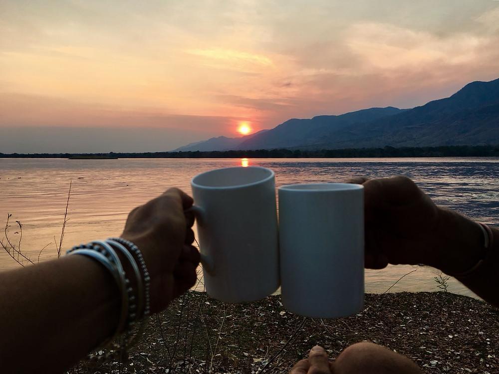 mana pools sunset and lake