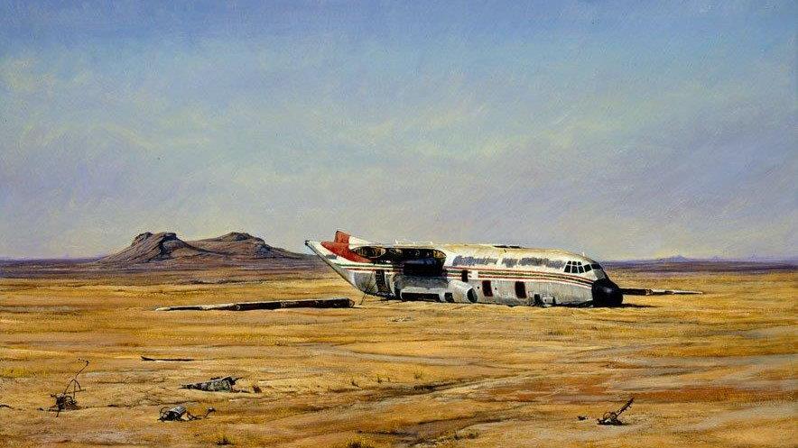 'Crashed  -  C130' Canvas Print by Larry Norton