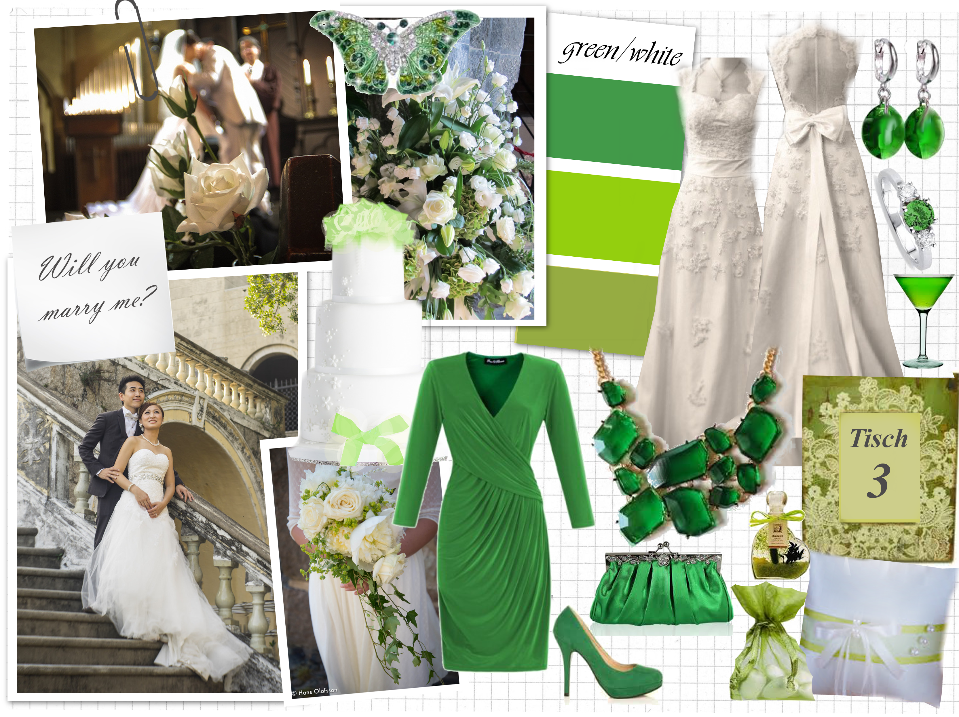 Hochzeit in grün/weiß