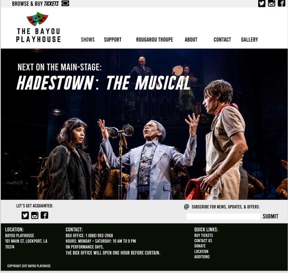 Bayou Playhouse Website