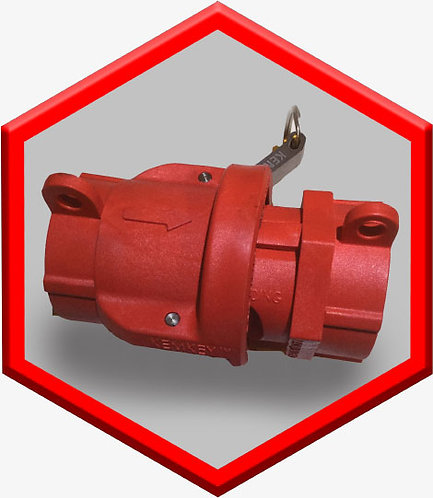 Safety Coupling for Acids or Acid Mixtures - Red Hexagon