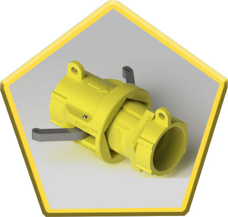 Safety Coupling for Oxidizers - Yellow Pentagon
