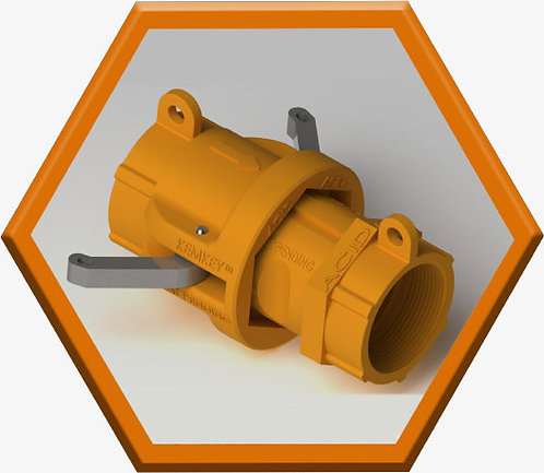 Safety Coupling for Acids - Orange Hexagon