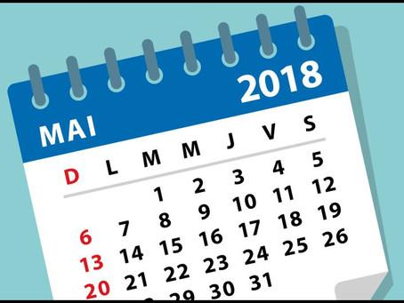 L'agenda du mois de mai 2018