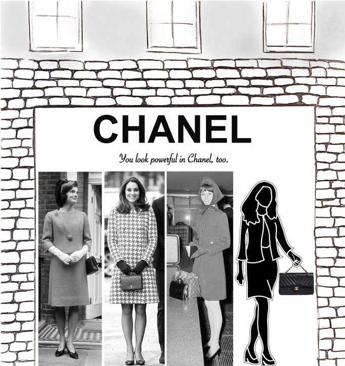 Ad Type: Outdoor Advertising- Store Window  Nearby cameras will capture images of pedestrians as they walk by and put them in the Chanel window next to other powerful women wearing their Chanel bag including Jackie O, Audrey Hepburn, and Kate Middleton. This will give potential customers a visual of what they look like with a Chanel bag, imagining it being a part of their power outfit.