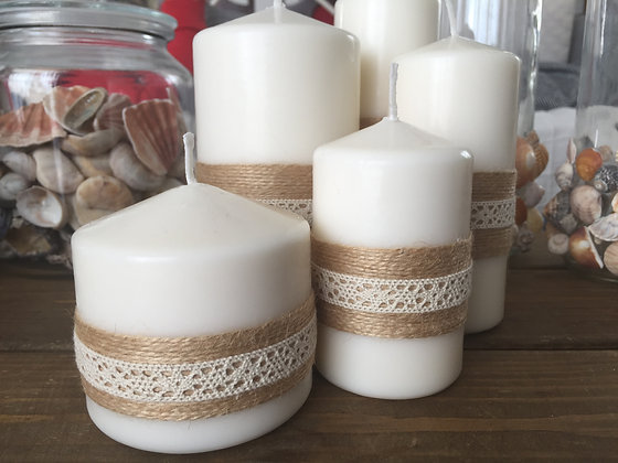Candle set 'Rustic' decorate with natural thin jute string and lace