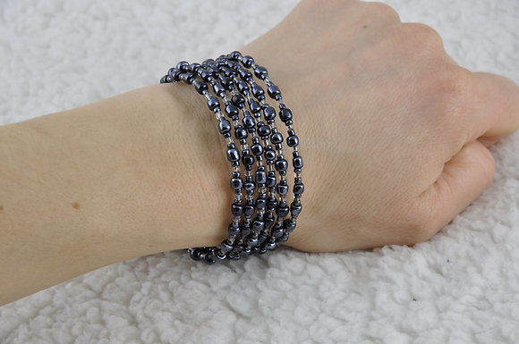 Bracelet/jewelry/beaded/handmade/spiral/'Grey'