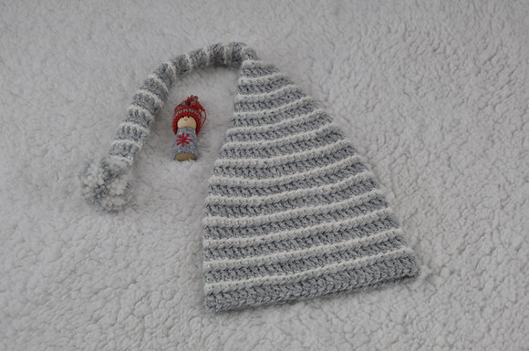 Elf hat/100% wool/crochet/with pompom//wool hat/long tail hat/toddler hat