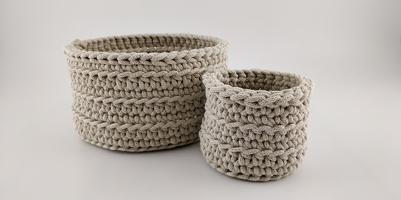 Basket set/crochet/handmade/nursery decor/cotton cord/Christmas gift/beige