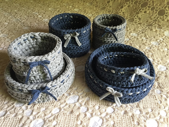 Basket sets/crochet/home decor/nursery decor/handmade/cotton/T-shirt yarn