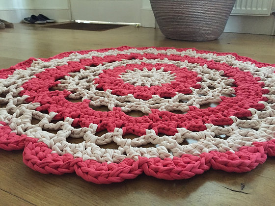 Rug/crochet/nursery decor/home decor/handmade/cotton/T-shirt yarn/'Flower'