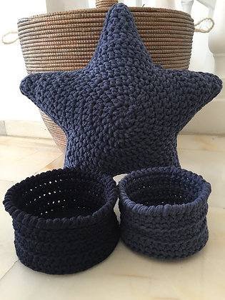 Star cushion and baskets set/crochet basket/handmade/storage/'Jeans'