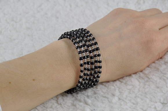 Bracelet/jewelry/beaded/handmade/spiral/'Black'