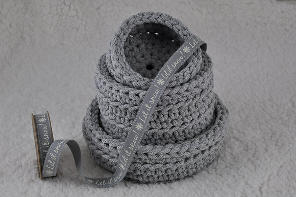 Basket set/crochet/handmade/nursery decor/cotton cord/Christmas gift/grey