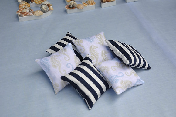 Lavender bags/sachets/lavender/seahorse print/striped fabric/blue/better sleep