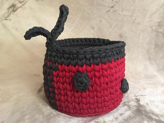 Crochet ladybird basket/nursery storage/organiser/newborn baby