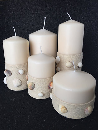 Candle set 'Seashell' decorated with jute string and shells