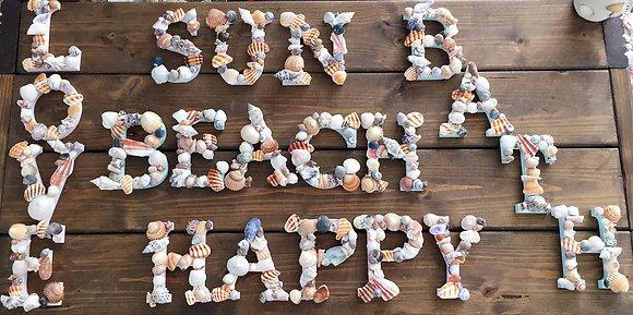 Seashell letters/wood/shell/homedecor/walldecor