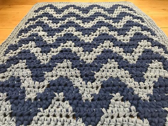 "Rug/crochet/floor runner/home decor/nursery decor/cotton/t-shirt yarn/""Waves"""