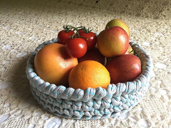 Basket/crochet/home decor/handmade/T-shirt yarn/cotton/'Grey & Green stripy'