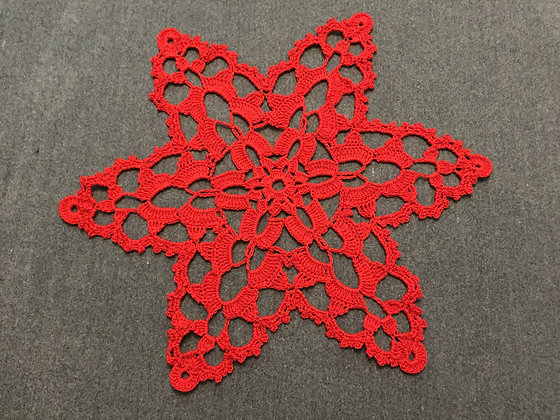 Crochet doily/mandala/Christmas decoration/handmade/star/home decor/'Red star'