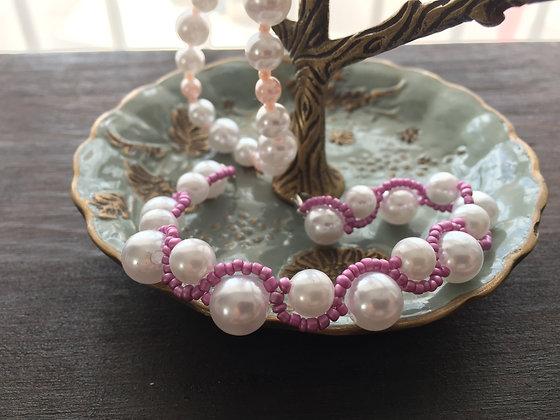 Bracelet/beaded/jewelry/white/purple/handmade/'Eliot'