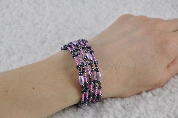 Bracelet/jewelry/beaded/handmade/spiral/'Pink'