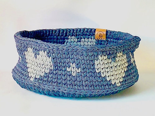 Denim basket with Grey Hearts