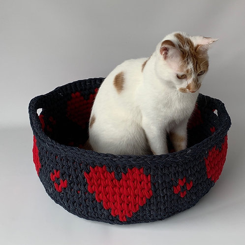 Denim Basket with Red Hearts (Small)