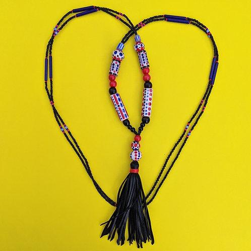 Long Hand Beaded Tassel Necklace