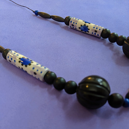 Lavender/Black/Blue Long Necklace