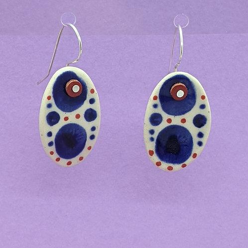 Double Navy Dots Orange Ceramic Disc Earrings